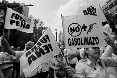Mexicans march to protest rise in gasoline prices