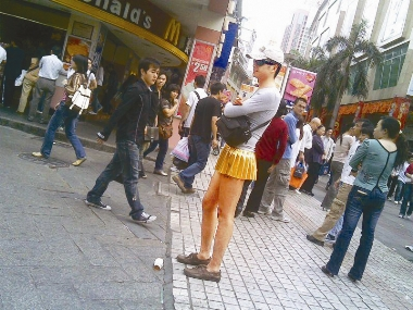 Unexpectedness! Women in very short skirts in public